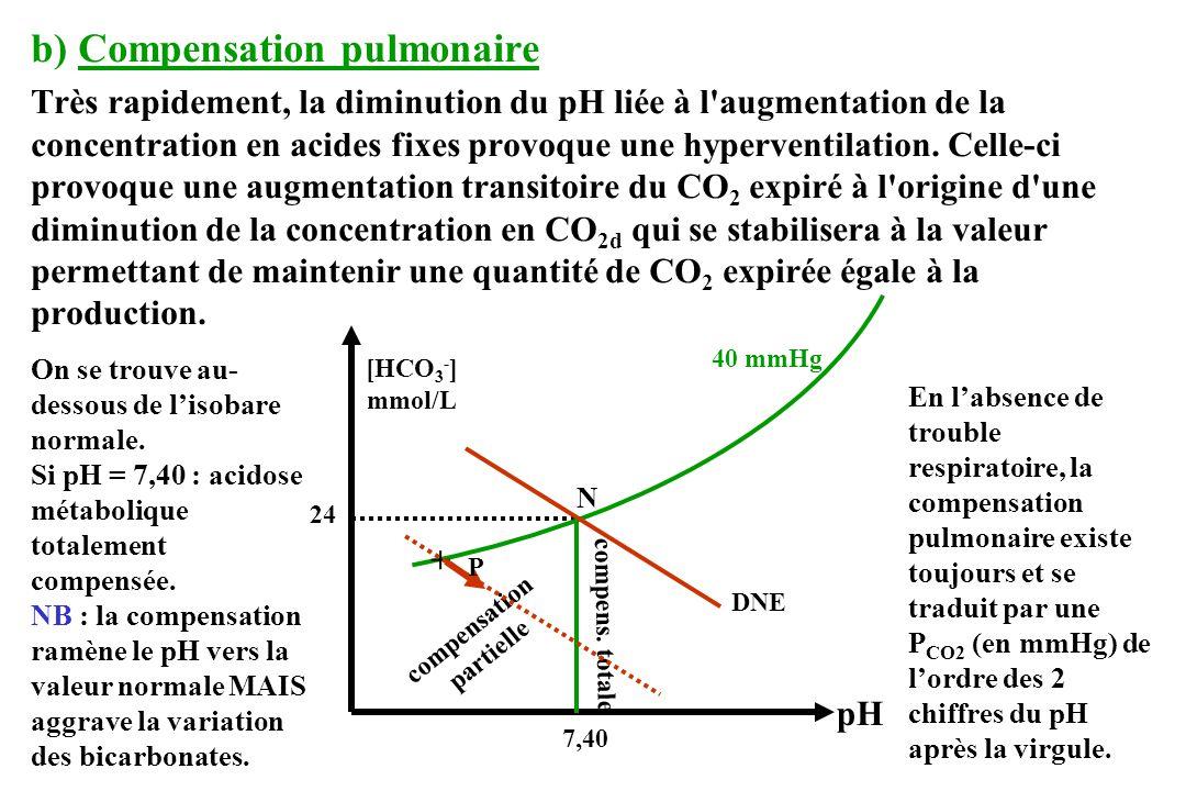 b) Compensation pulmonaire Très rapidement, la diminution du pH liée à l augmentation de la concentration en acides fixes provoque une hyperventilation.
