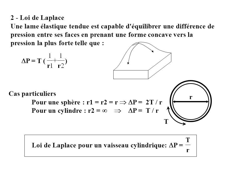 2 - Loi de Laplace Une lame élastique tendue est capable d'équilibrer une différence de pression entre ses faces en prenant une forme concave vers la