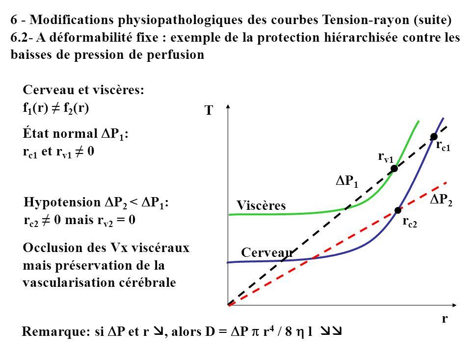 6 - Modifications physiopathologiques des courbes Tension-rayon (suite) 6.2- A déformabilité fixe : exemple de la protection hiérarchisée contre les b
