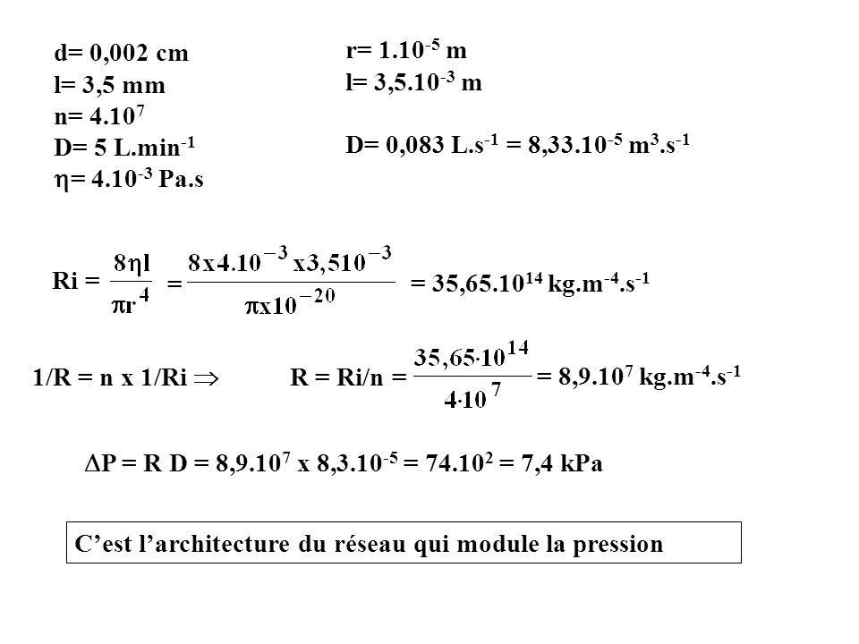 d= 0,002 cm l= 3,5 mm n= 4.10 7 D= 5 L.min -1 = 4.10 -3 Pa.s r= 1.10 -5 m l= 3,5.10 -3 m D= 0,083 L.s -1 = 8,33.10 -5 m 3.s -1 Ri = = = 35,65.10 14 kg