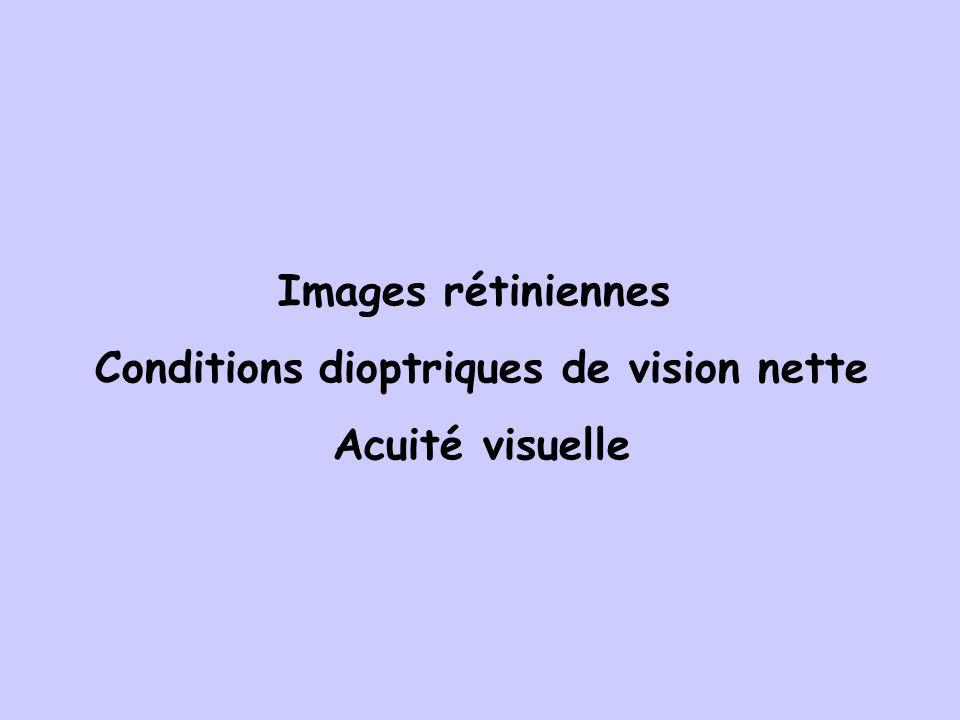 Images rétiniennes Conditions dioptriques de vision nette Acuité visuelle