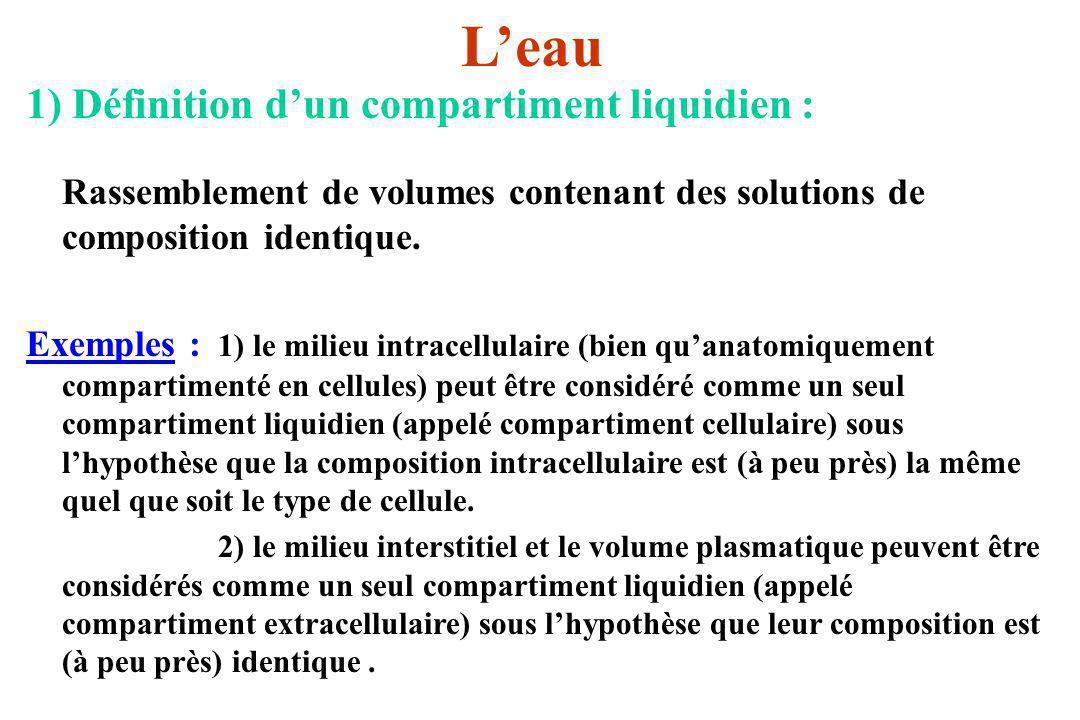 Leau 1) Définition dun compartiment liquidien : Rassemblement de volumes contenant des solutions de composition identique. Exemples : 1) le milieu int