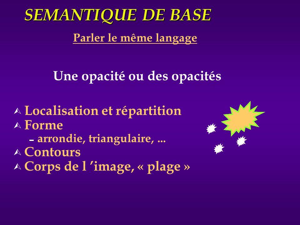 SEMANTIQUE DE BASE Parler le même langage Ù Localisation et répartition Ù Forme arrondie, triangulaire,... Ù Contours Ù Corps de l image, « plage » Un
