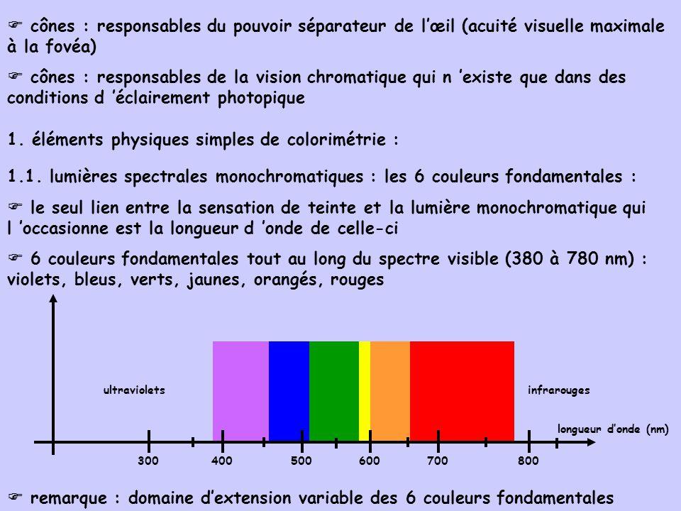 cônes : responsables du pouvoir séparateur de lœil (acuité visuelle maximale à la fovéa) cônes : responsables de la vision chromatique qui n existe qu