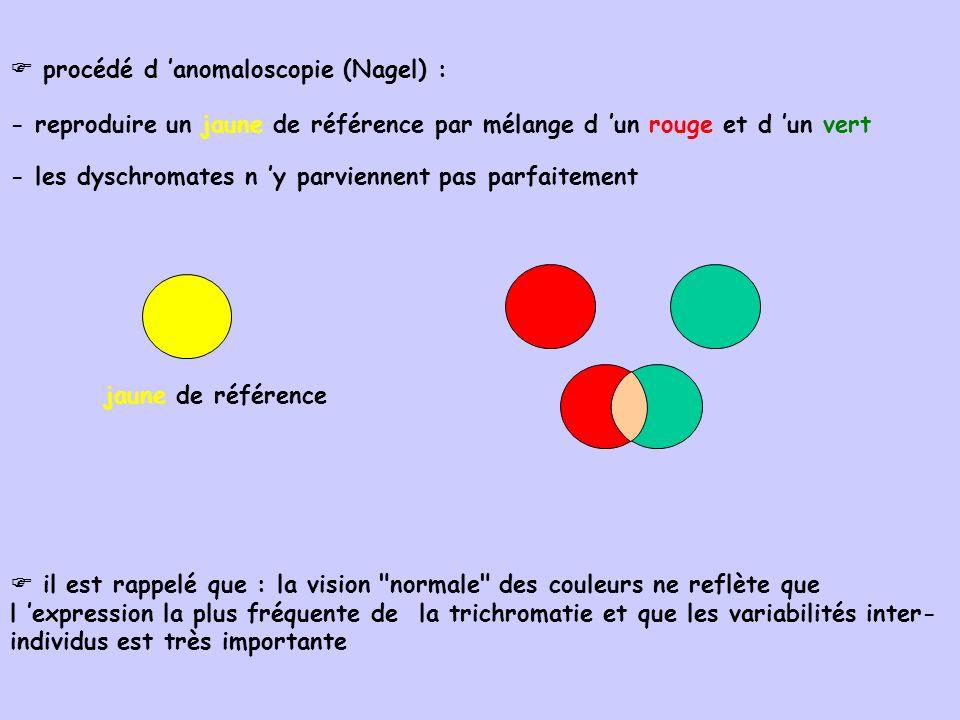 procédé d anomaloscopie (Nagel) : - reproduire un jaune de référence par mélange d un rouge et d un vert - les dyschromates n y parviennent pas parfai