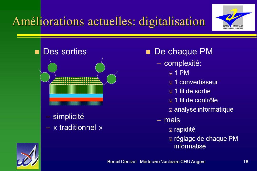 Benoit Denizot Médecine Nucléaire CHU Angers18 Améliorations actuelles: digitalisation n Des sorties –simplicité –« traditionnel » n De chaque PM –com
