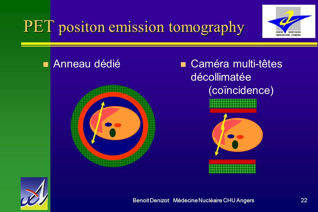 Benoit Denizot Médecine Nucléaire CHU Angers22 PET positon emission tomography n Anneau dédié n Caméra multi-têtes décollimatée (coïncidence)
