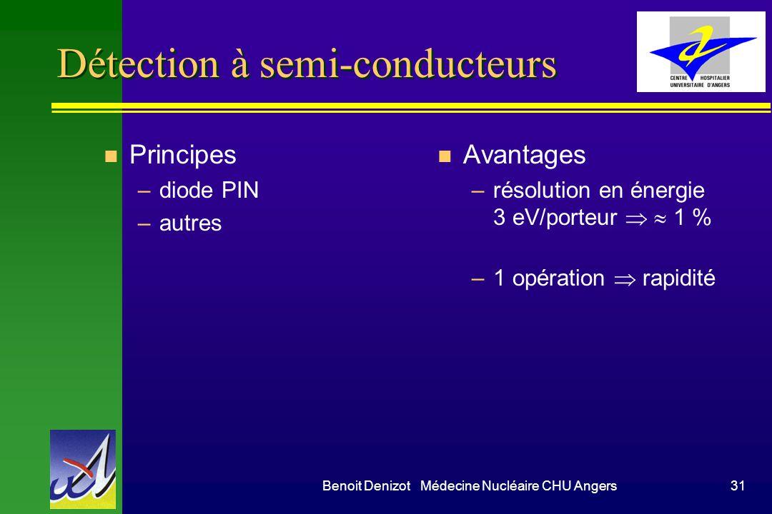 Benoit Denizot Médecine Nucléaire CHU Angers31 Détection à semi-conducteurs n Principes –diode PIN –autres n Avantages –résolution en énergie 3 eV/por