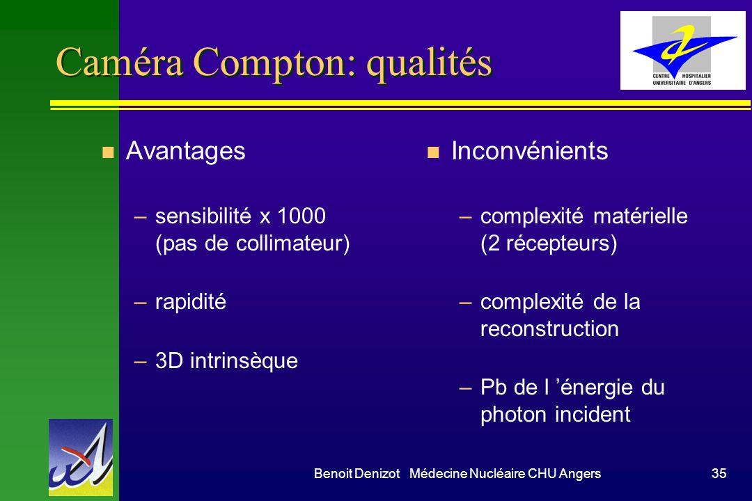 Benoit Denizot Médecine Nucléaire CHU Angers35 Caméra Compton: qualités n Avantages –sensibilité x 1000 (pas de collimateur) –rapidité –3D intrinsèque