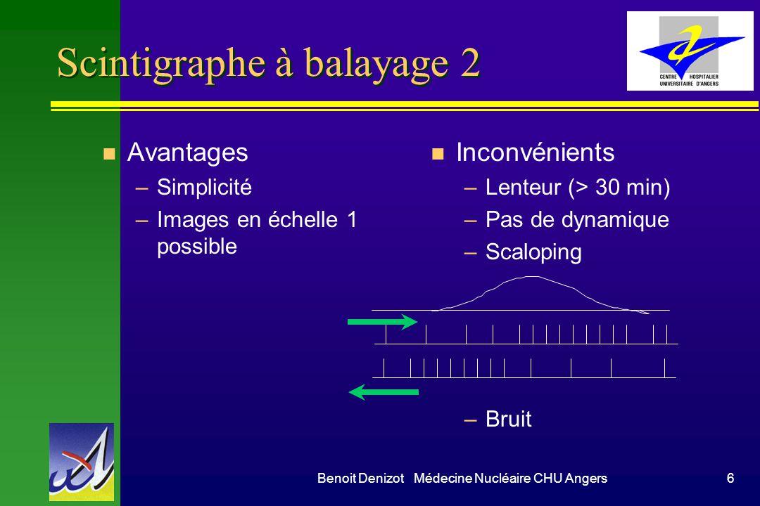 Benoit Denizot Médecine Nucléaire CHU Angers6 Scintigraphe à balayage 2 n Avantages –Simplicité –Images en échelle 1 possible n Inconvénients –Lenteur