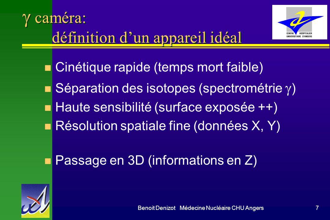 Benoit Denizot Médecine Nucléaire CHU Angers7 caméra: définition dun appareil idéal n Cinétique rapide (temps mort faible) Séparation des isotopes (sp