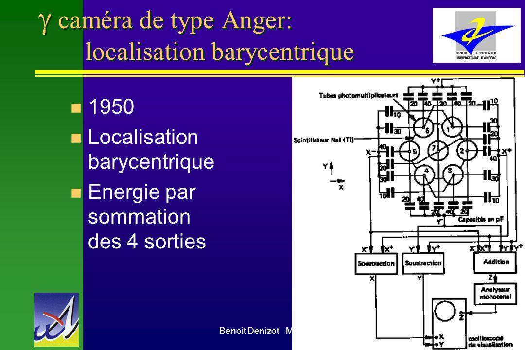 Benoit Denizot Médecine Nucléaire CHU Angers9 caméra de type Anger: localisation barycentrique n 1950 n Localisation barycentrique n Energie par somma