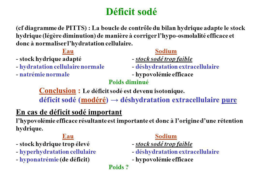 Déficit sodé (cf diagramme de PITTS) : La boucle de contrôle du bilan hydrique adapte le stock hydrique (légère diminution) de manière à corriger lhyp