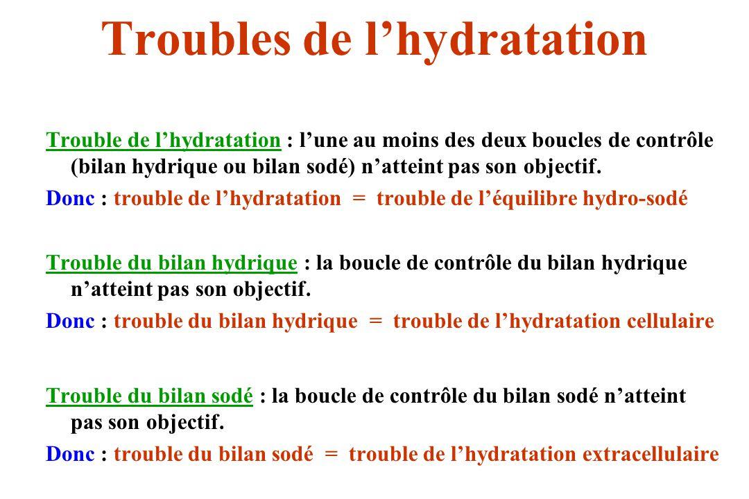 Troubles de lhydratation Trouble de lhydratation : lune au moins des deux boucles de contrôle (bilan hydrique ou bilan sodé) natteint pas son objectif