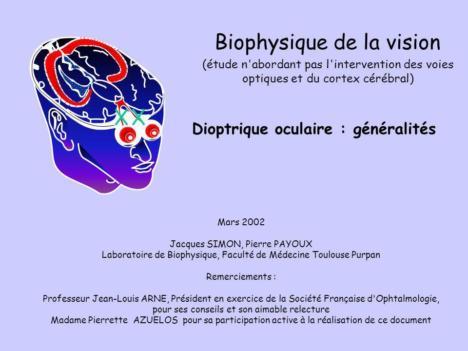 Dioptrique oculaire : généralités Mars 2002 Jacques SIMON, Pierre PAYOUX Laboratoire de Biophysique, Faculté de Médecine Toulouse Purpan Remerciements