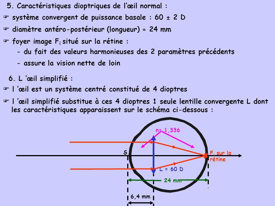 5. Caractéristiques dioptriques de lœil normal : système convergent de puissance basale : 60 ± 2 D diamètre antéro-postérieur (longueur) = 24 mm foyer