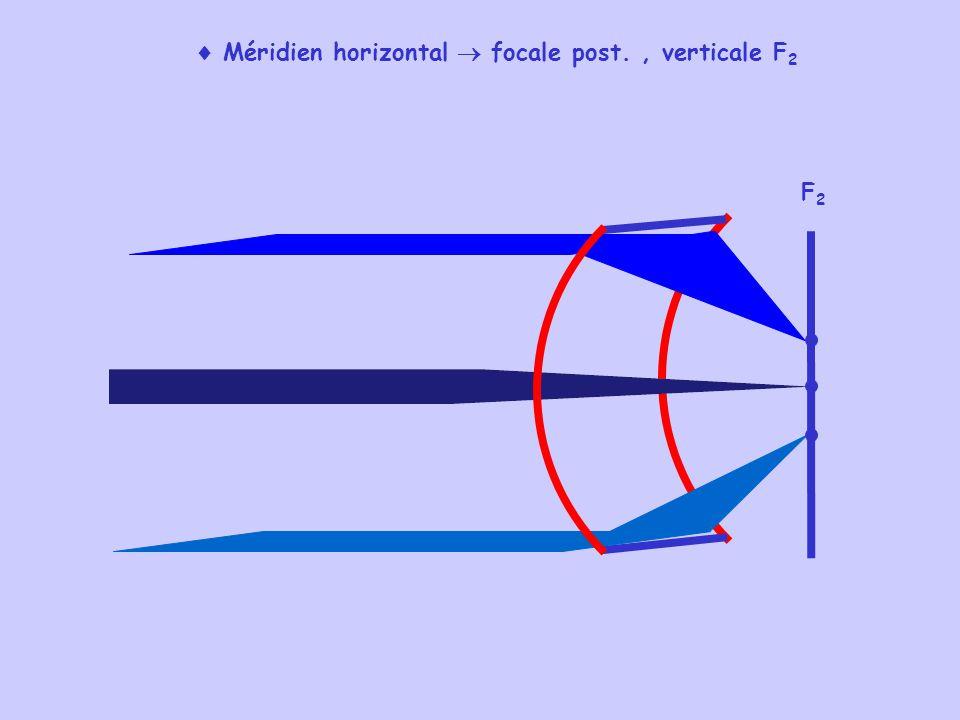 Méridien horizontal focale post., verticale F 2 F2F2