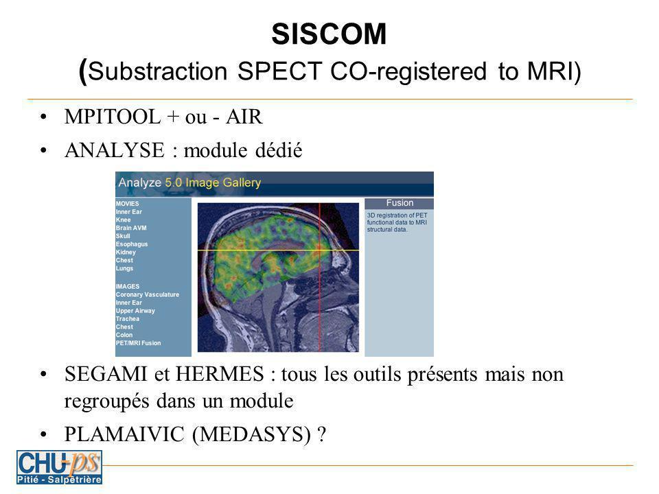 SISCOM ( Substraction SPECT CO-registered to MRI) MPITOOL + ou - AIR ANALYSE : module dédié SEGAMI et HERMES : tous les outils présents mais non regroupés dans un module PLAMAIVIC (MEDASYS) ?