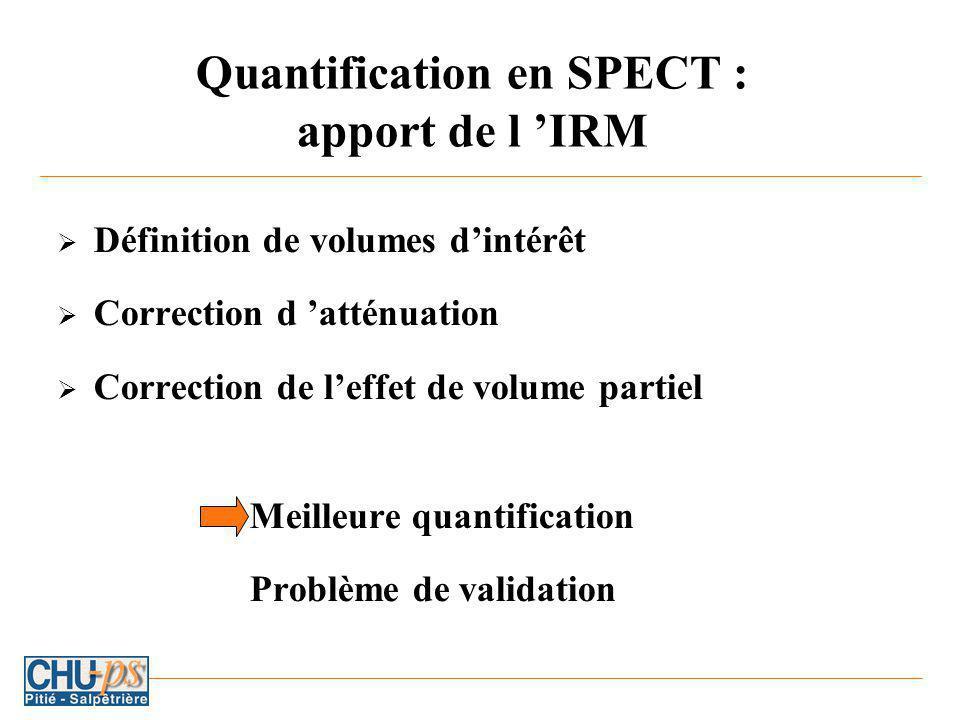 Quantification en SPECT : apport de l IRM Définition de volumes dintérêt Correction d atténuation Correction de leffet de volume partiel Meilleure quantification Problème de validation