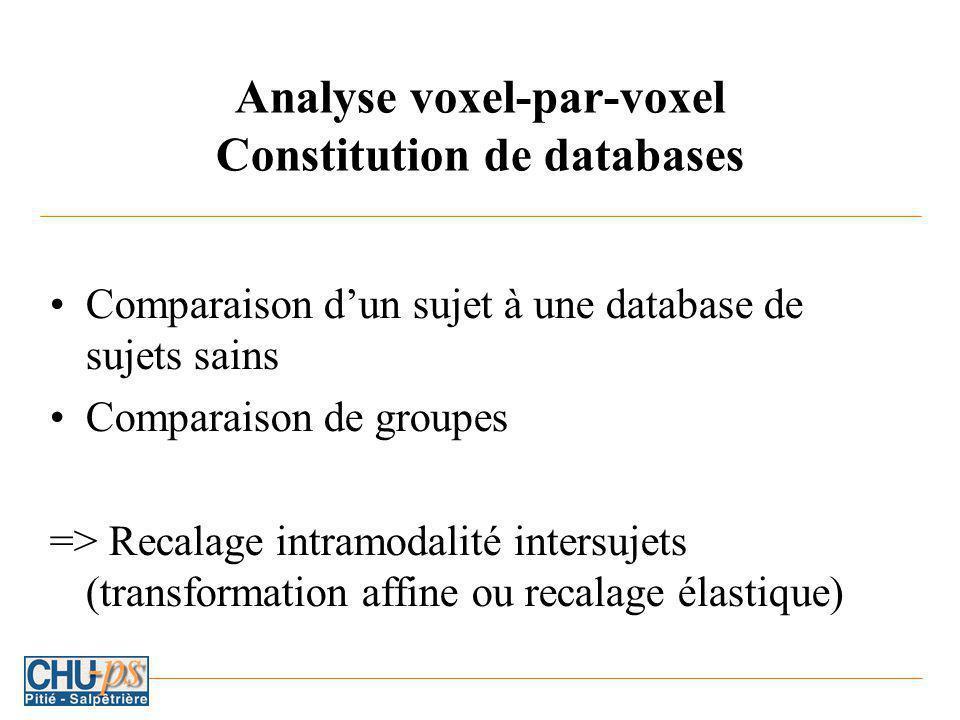 Analyse voxel-par-voxel Constitution de databases Comparaison dun sujet à une database de sujets sains Comparaison de groupes => Recalage intramodalité intersujets (transformation affine ou recalage élastique)