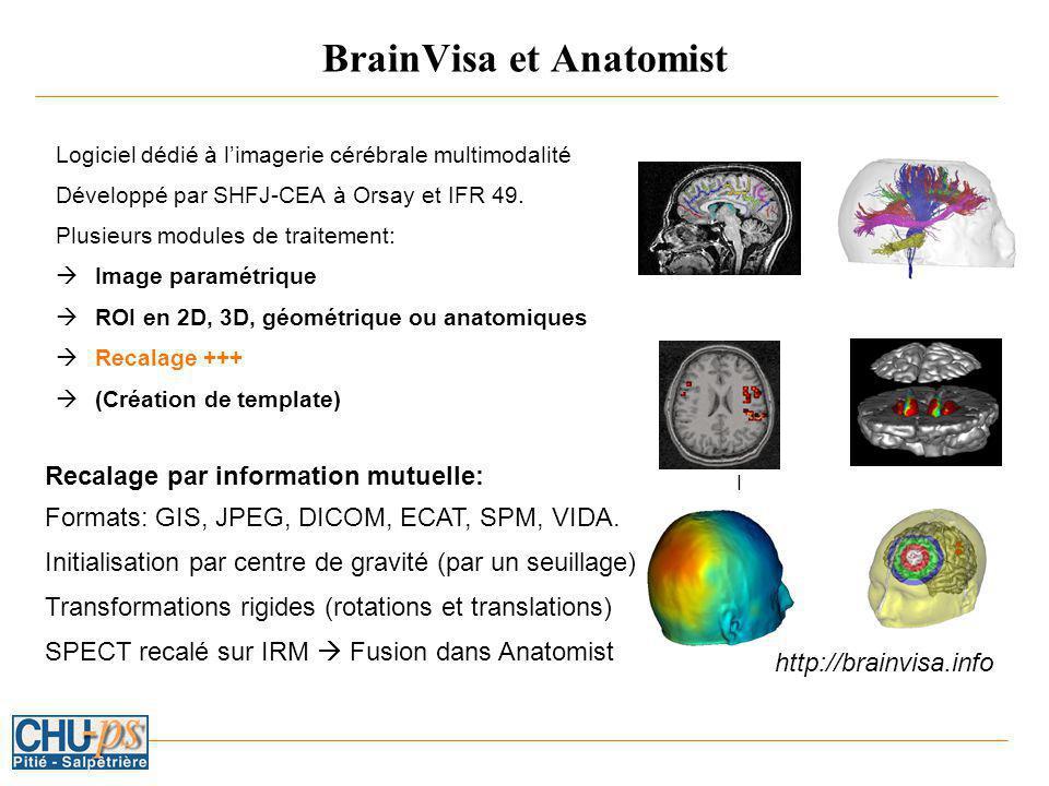 BrainVisa et Anatomist Logiciel dédié à limagerie cérébrale multimodalité Développé par SHFJ-CEA à Orsay et IFR 49.