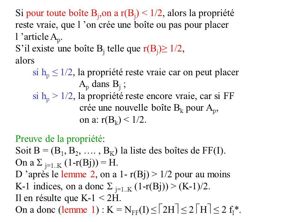 Si pour toute boîte B j,on a r(B j ) < 1/2, alors la propriété reste vraie, que l on crée une boîte ou pas pour placer l article A p. Sil existe une b