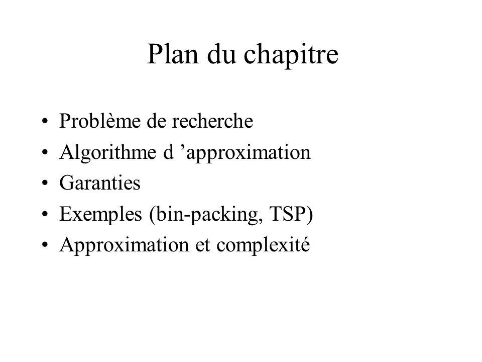 Plan du chapitre Problème de recherche Algorithme d approximation Garanties Exemples (bin-packing, TSP) Approximation et complexité