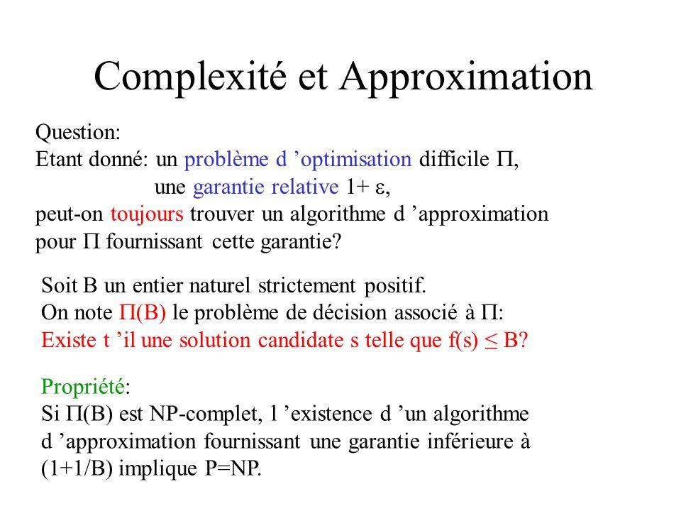 Complexité et Approximation Question: Etant donné: un problème d optimisation difficile, une garantie relative 1+, peut-on toujours trouver un algorit