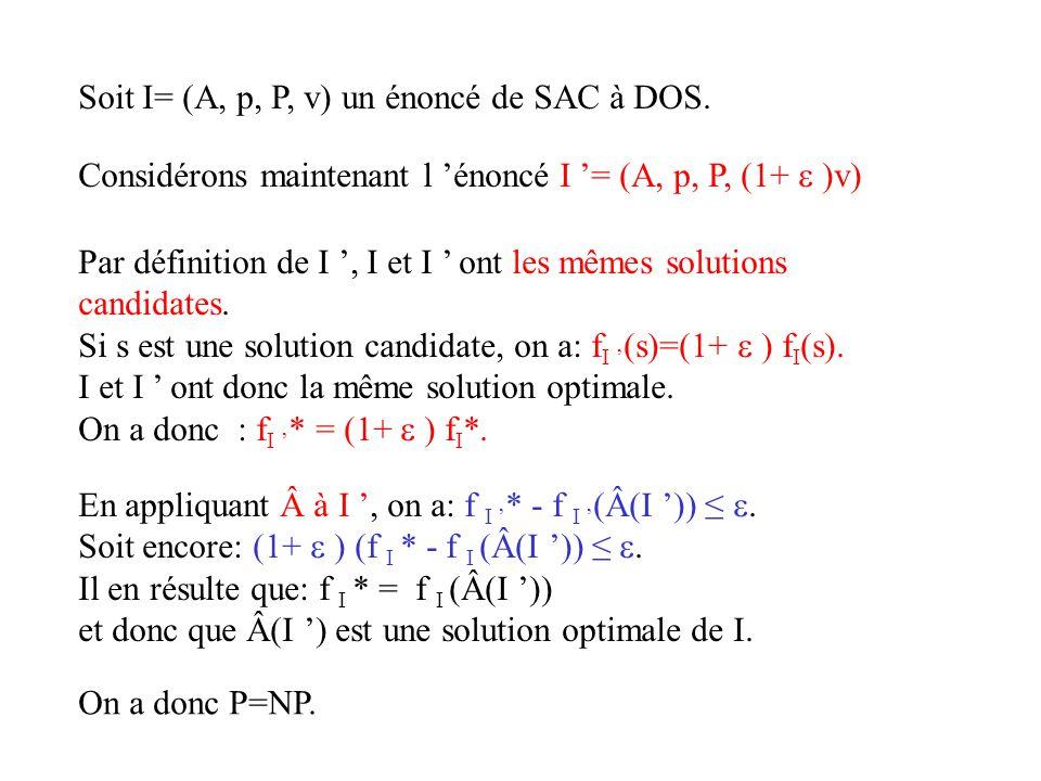 Soit I= (A, p, P, v) un énoncé de SAC à DOS. En appliquant à I, on a: f I * - f I (Â(I )). Soit encore: (1+ ) (f I * - f I (Â(I )). Il en résulte qu