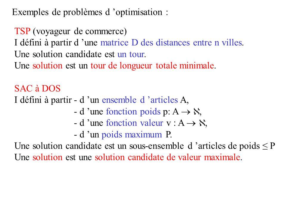 Exemples de problèmes d optimisation : TSP (voyageur de commerce) I défini à partir d une matrice D des distances entre n villes. Une solution candida