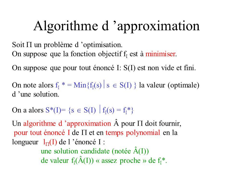 Algorithme d approximation Soit un problème d optimisation. On suppose que la fonction objectif f I est à minimiser. On suppose que pour tout énoncé I