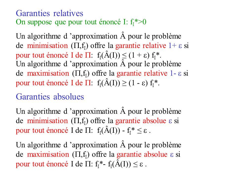 Un algorithme d approximation pour le problème de minimisation (,f I ) offre la garantie relative 1+ si pour tout énoncé I de : f I (Â(I)) (1 + ) f