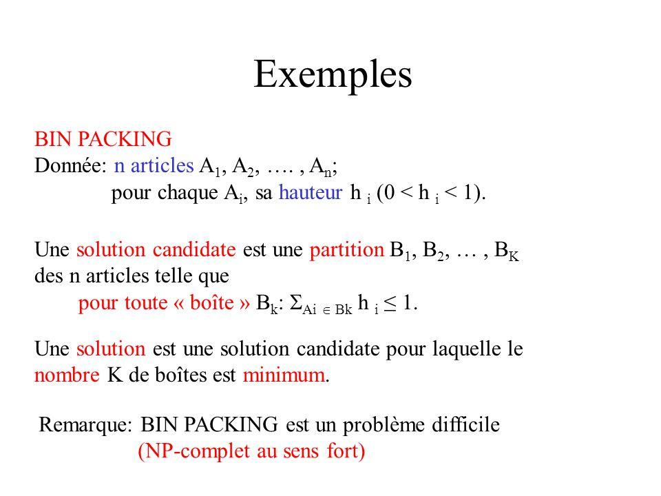 Exemples BIN PACKING Donnée: n articles A 1, A 2, …., A n ; pour chaque A i, sa hauteur h i (0 < h i < 1). Une solution candidate est une partition B