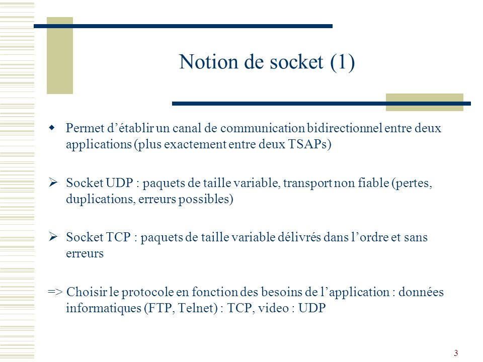 3 Notion de socket (1) Permet détablir un canal de communication bidirectionnel entre deux applications (plus exactement entre deux TSAPs) Socket UDP