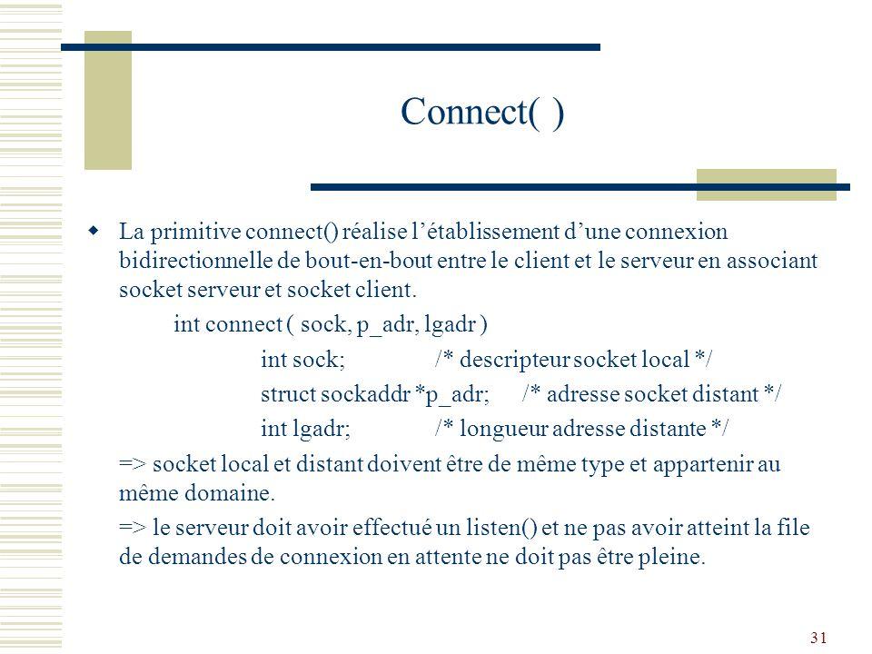 32 Connect( ) : délai détablissement dune connexion Lorsque la file de demandes de connexions du serveur est pleine, le processus client est bloqué jusquà expiration du délai détablissement dune connexion.