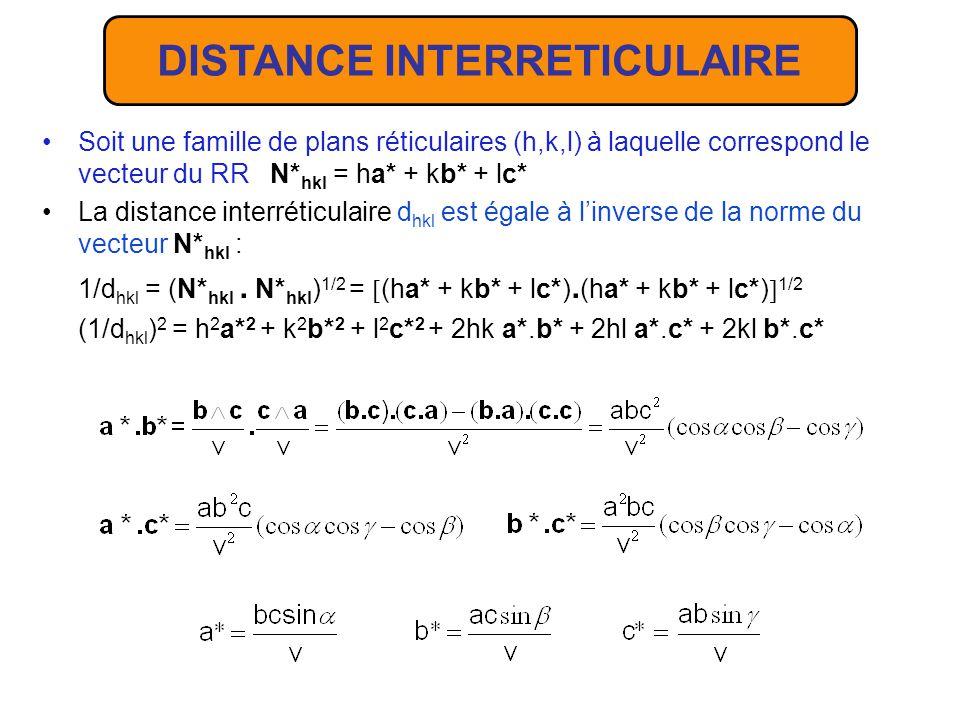 LE RESEAU RECIPROQUE A toute famille de plans réticulaires (h,k,l) du RD on peut associer la rangée h,k,l * du RR qui lui est orthogonale; h, k et l étant premiers entre eux linverse de la norme du vecteur N* hkl du RR est égale à la distance inter-réticulaire d hkl.