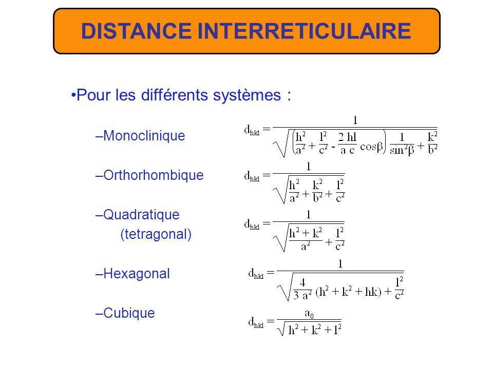 Soit une famille de plans réticulaires (h,k,l) à laquelle correspond le vecteur du RR N* hkl = ha* + kb* + lc* La distance interréticulaire d hkl est égale à linverse de la norme du vecteur N* hkl : 1/d hkl = (N* hkl.