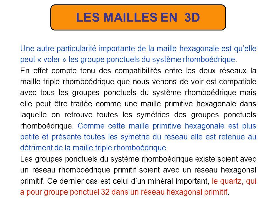 LES MAILLES EN 3D 1 2 2 2 0 et 3 1 1 La maille primitive rhomboédrique peut donc être traitée comme une maille triple hexagonale avec deux nœuds du réseaux en 2/3,1/3,1/3 et 1/3,2/3,2/3.