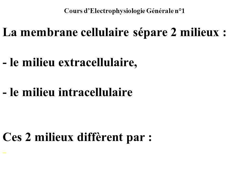 Cours dElectrophysiologie Générale n°1 Potentiel déquilibre dun ion, E ion Le potentiel déquilibre dun ion est la différence de potentiel (ddp) quil faudrait appliquer de part et dautre de la membrane pour que le gradient électrique de cet ion soppose très exactement en direction, en sens et en amplitude au gradient de concentration de cet ion, chaque ion étant pris séparément.