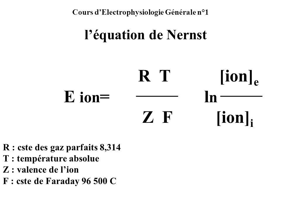 Cours dElectrophysiologie Générale n°1 léquation de Nernst R T [ion] e E ion = l n Z F [ion] i R : cste des gaz parfaits 8,314 T : température absolue