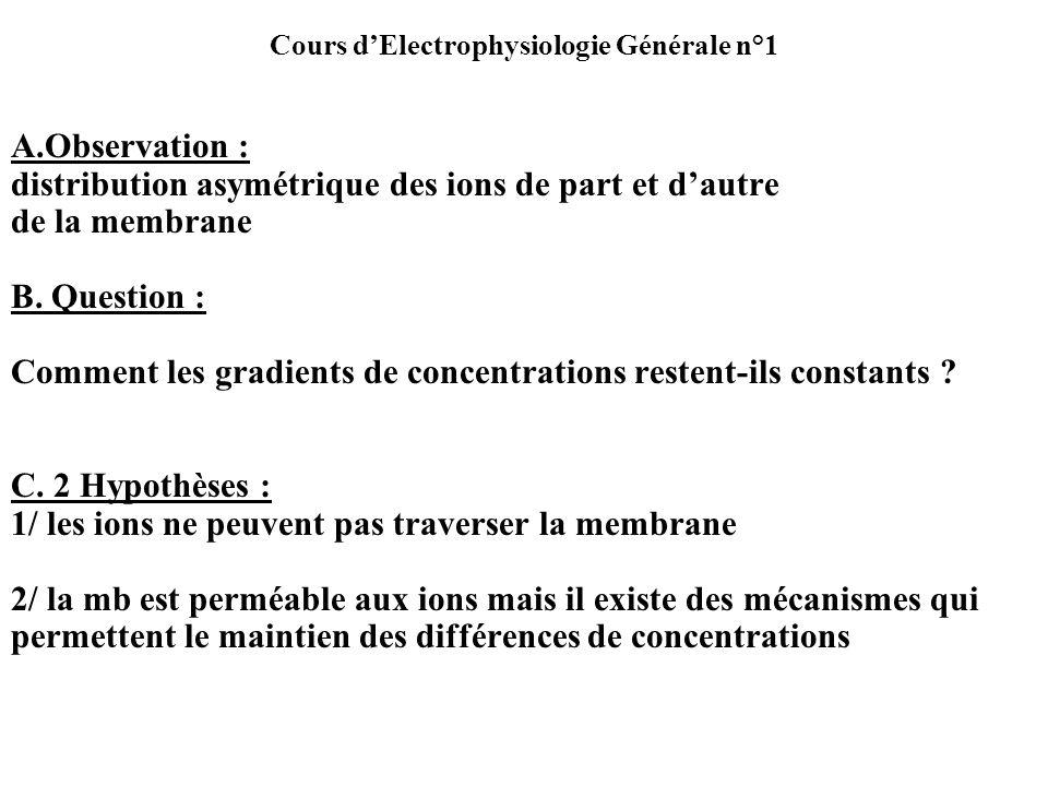 A.Observation : distribution asymétrique des ions de part et dautre de la membrane B. Question : Comment les gradients de concentrations restent-ils c