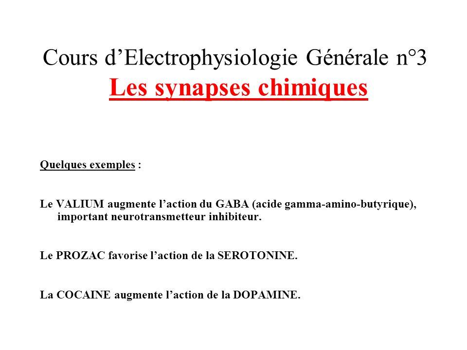 Cours dElectrophysiologie Générale n°3 Les synapses chimiques Quelques exemples : Le VALIUM augmente laction du GABA (acide gamma-amino-butyrique), im