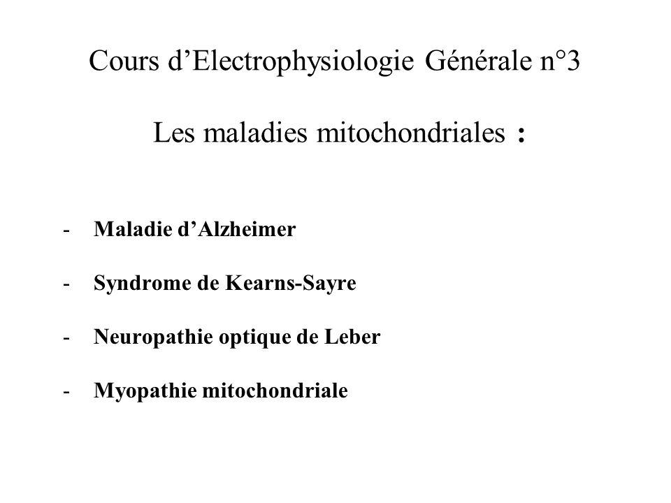 Cours dElectrophysiologie Générale n°3 Les maladies mitochondriales : - Maladie dAlzheimer - Syndrome de Kearns-Sayre - Neuropathie optique de Leber -
