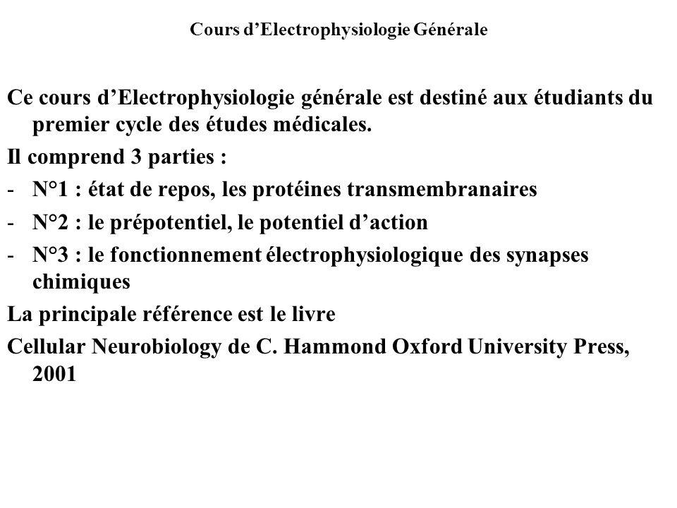Cours dElectrophysiologie Générale Ce cours dElectrophysiologie générale est destiné aux étudiants du premier cycle des études médicales. Il comprend