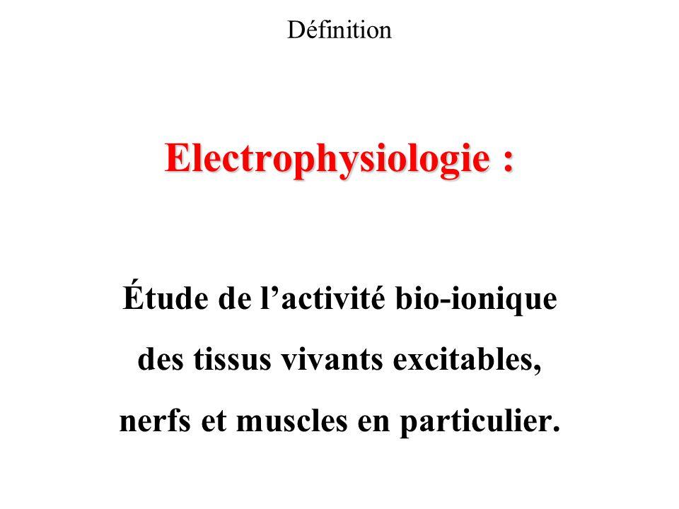 Définition Electrophysiologie : Étude de lactivité bio-ionique des tissus vivants excitables, nerfs et muscles en particulier.