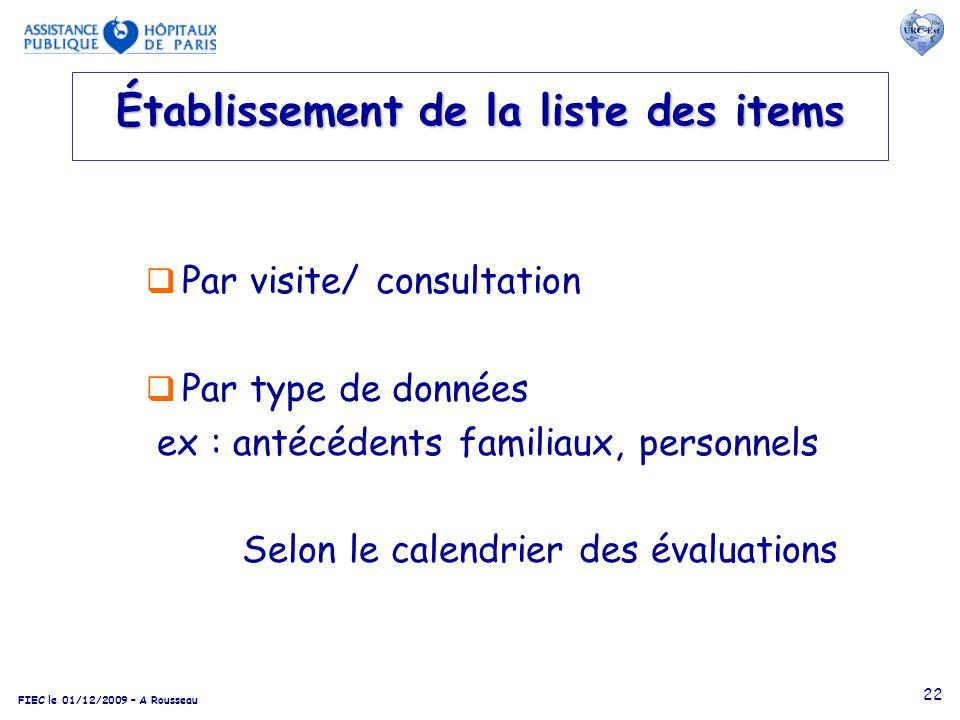 FIEC le 01/12/2009 – A Rousseau 22 Établissement de la liste des items Par visite/ consultation Par type de données ex : antécédents familiaux, person