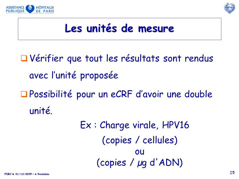 FIEC le 01/12/2009 – A Rousseau 25 Les unités de mesure Vérifier que tout les résultats sont rendus avec lunité proposée Possibilité pour un eCRF davo
