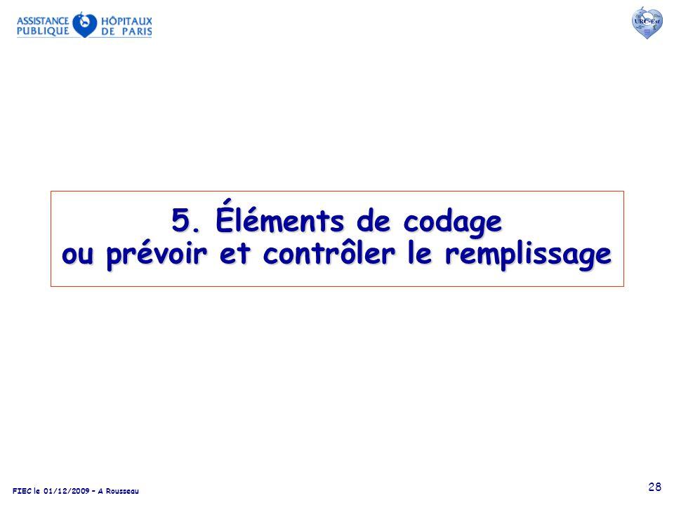 FIEC le 01/12/2009 – A Rousseau 28 5. Éléments de codage ou prévoir et contrôler le remplissage