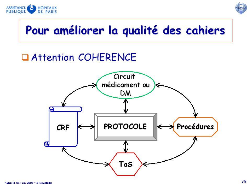 FIEC le 01/12/2009 – A Rousseau 39 Attention COHERENCE Pour améliorer la qualité des cahiers