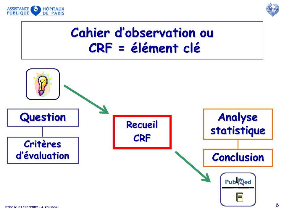 5 Cahier dobservation ou CRF = élément clé RecueilCRF Question Conclusion Critères dévaluation Analyse statistique I